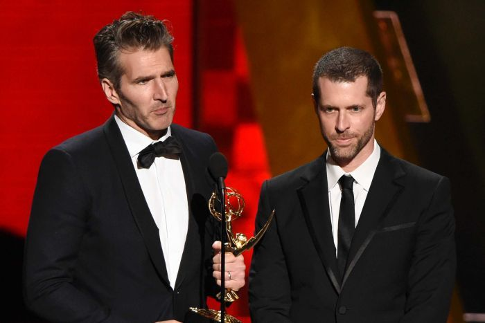 DavidBenioff and DB Weiss accept an award at the Emmys