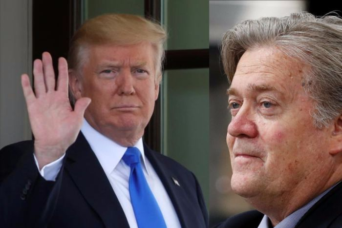 Composite image of President Donald Trump waving and former chief strategist Steve Bannon.