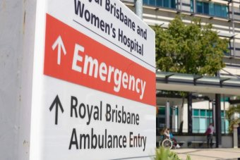 Emergency sign outside Royal Brisbane and Women's Hospital