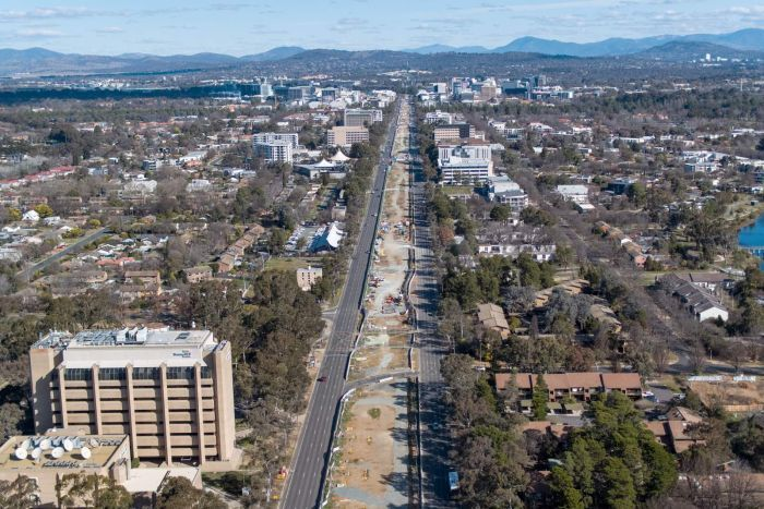 An aerial view of Northbourne Avenue looking south after the removal of median strip trees.