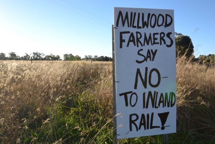 A sign read: 'Millwood farmers say no to inland rail'