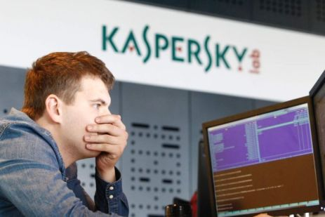 An employee works at a computer at Kaspersky Labs in Moscow.