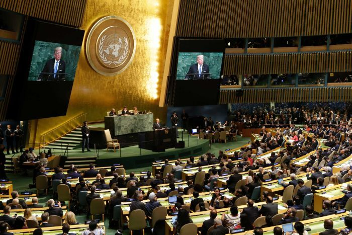 DonaldTrumpspeaks during the United Nations General Assembly.