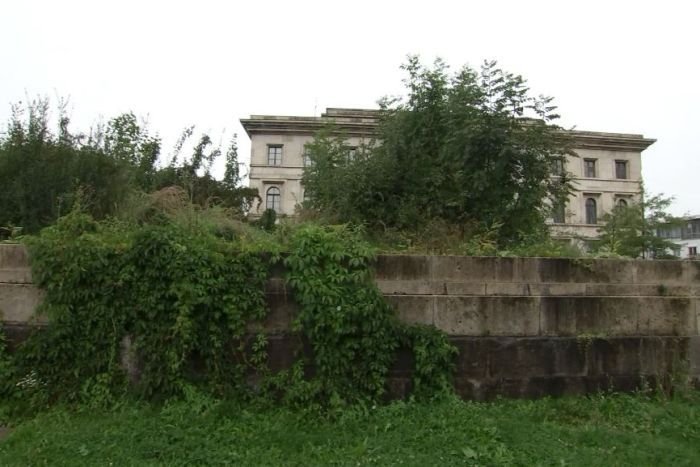 Some overgrown remains of a Nazi temple in Munich.