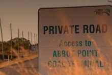 Road sign stating private access to Abbott Point terminal.