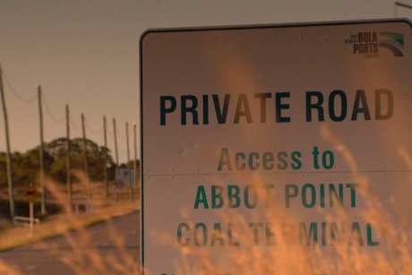 Road sign stating private access to Abbot Point terminal.