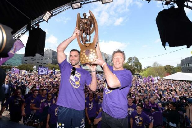 Billy Moore believes Cameron Smith (L) may replace Craig Bellamy as Storm coach one day.