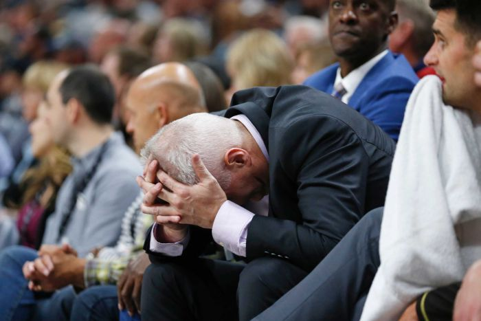 Andrew Gaze grimaces during Sydney Kings match against Utah Jazz