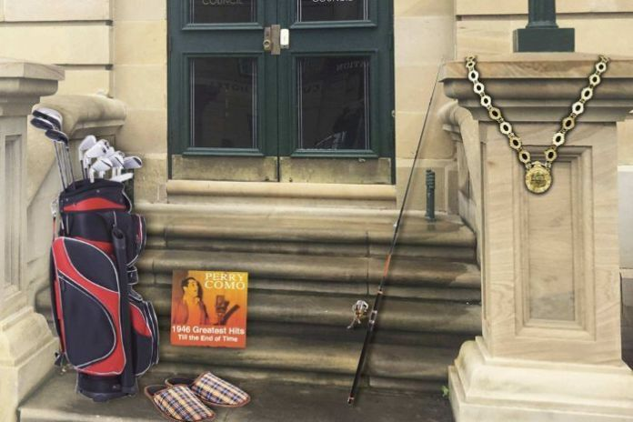 Items inserted into a photo of the steps of Tasmania's Legislative Council building.