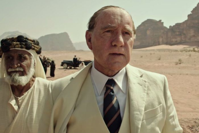 Actor Kevin Spacey is pictured in a white suit in a scene from 2017 movie All the Money in the World.