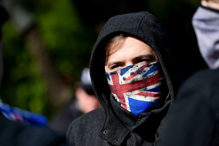 Far right protester with facemask
