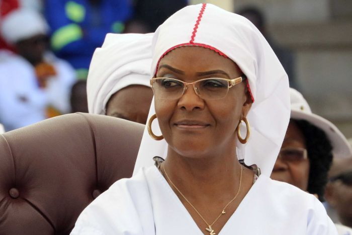 Grace Mugabe, wife of Zimbabwean President Robert Mugabe, at a rally