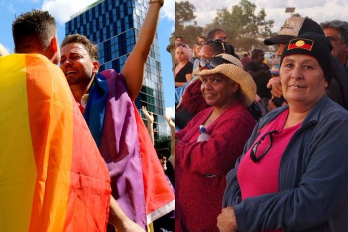 Two men celebrating the same-sex marriage postal survey result (left) and delegates at the Uluru Convention (right).