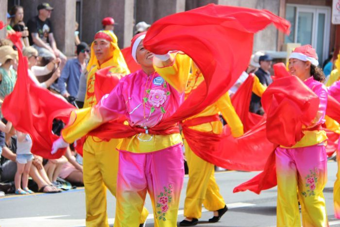 Multicultural celebrations in Hobart Christmas parade.