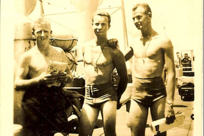 Ken Palmer (centre) and crewmates days before the atomic blast at the Montebello Islands.