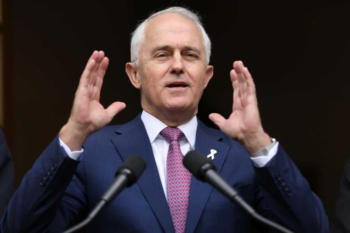 Malcolm Turnbull gestures at a press conference, December 5, 2017.