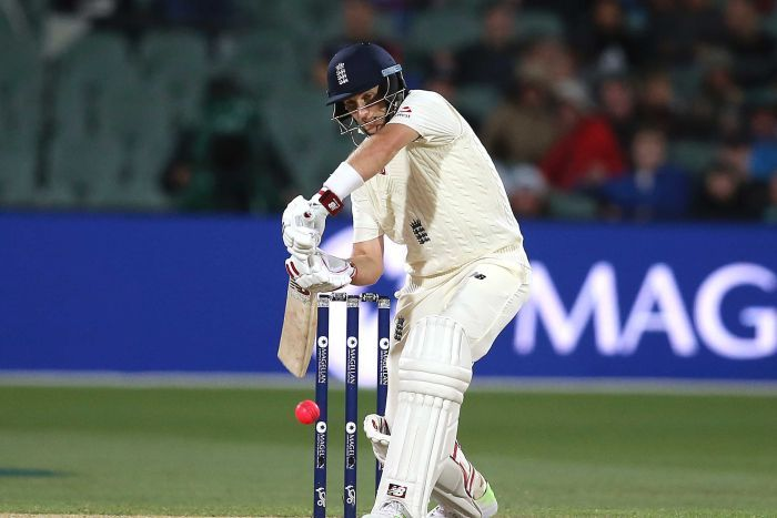England's Joe Root drives the ball