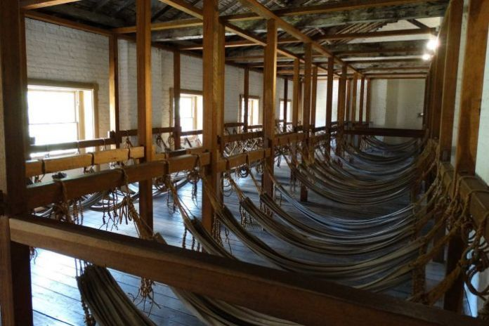 Hammocks in the convicts' barracks at Hyde Park Barracks Museum, Sydney.