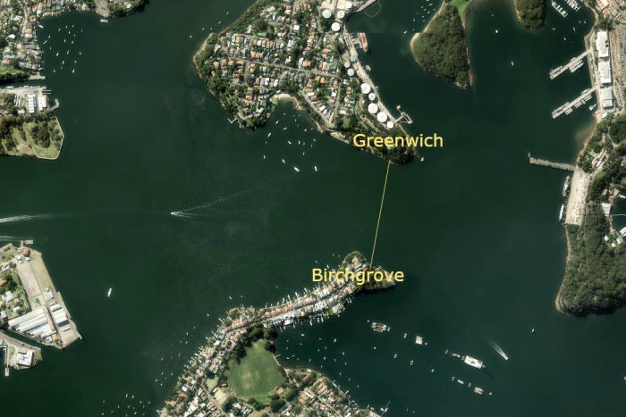 An aerial view of the headlands where the tunnel from Greenwich to Birchgrove was dug under Sydney Harbour.