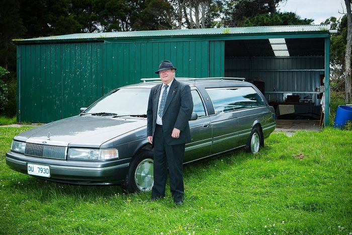 Peter Chivers with his new hearse
