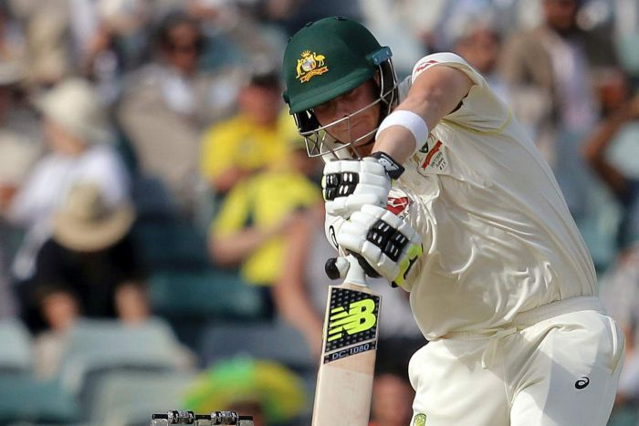 Steve Smith drives on day two at the WACA