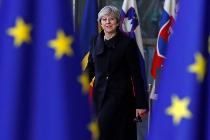 Theresa May standing between two blue flags.
