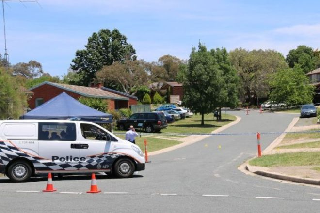 Police at the scene of a suspicious death in Canberra
