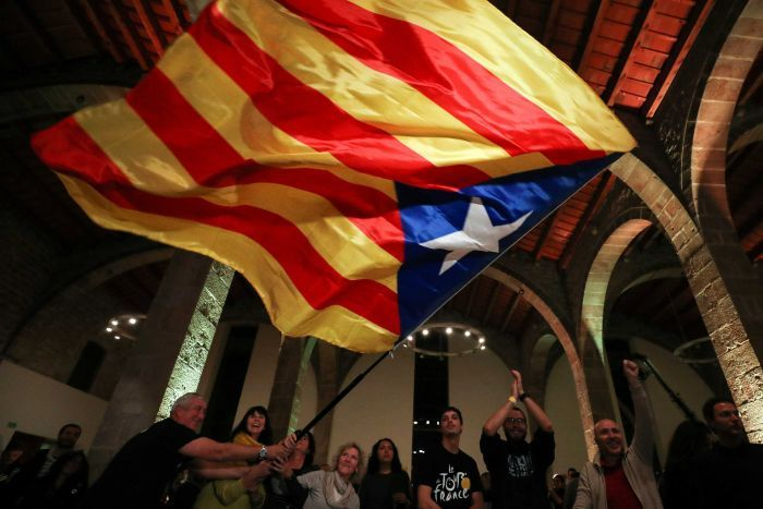 People react to results in Catalonia's regional elections.