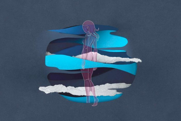 An illustration of a woman walking into a circle of water and mist