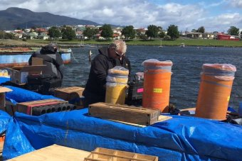Staff prepare Hobart's New Year's Eve fireworks