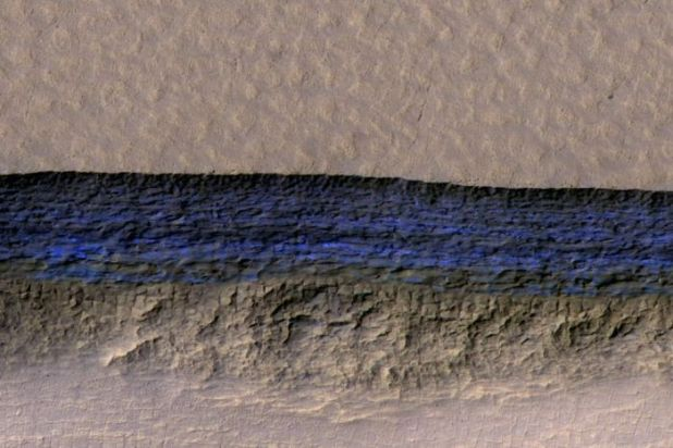 An aerial view of an ice deposit discovered on Mars, marked in blue.