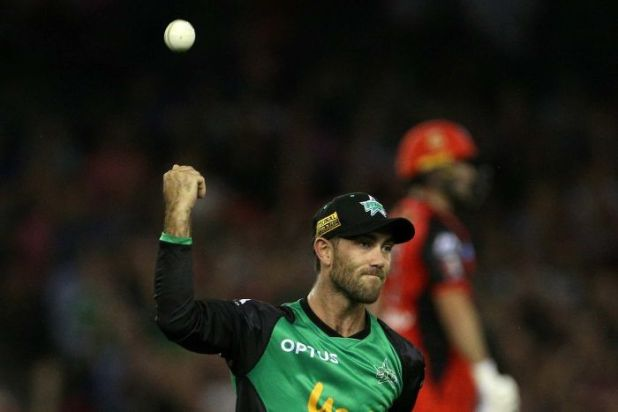 Glenn Maxwell celebrates his incredible catch