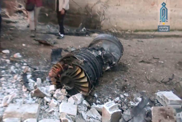 A part of a Russian plane that was shot down by rebel fighters over northwestIdlibprovince in Syria.