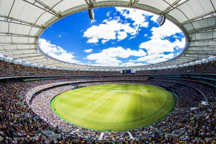 A wide shot from the top of the Perth Stadium stands during the cricket ODI between Australia and England.