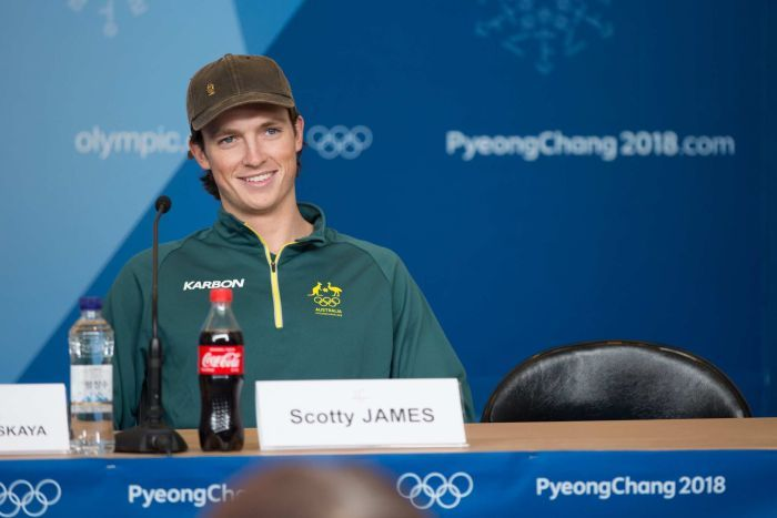Scotty James at a press conference.