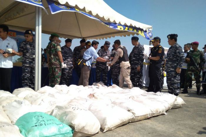 Indonesian Navy displays bags of the methamphetamines