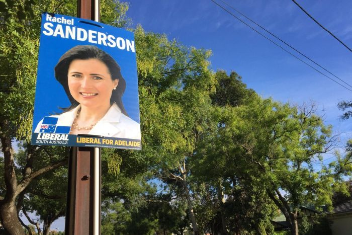 An election poster for Liberal candidate Rachel Sanderson