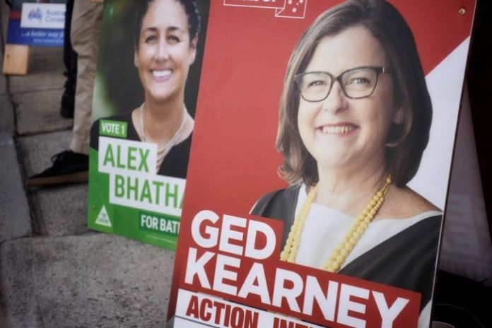 Campaign signs for Alex Bhathal, Greens and Ged Kearney in the federal seat of Batman.