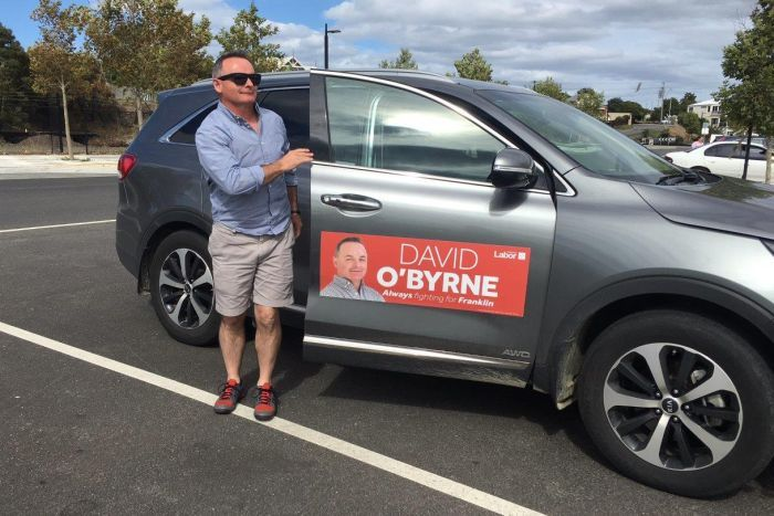 Returning Franklin Labor MP David O'Byrne getting out of his car.