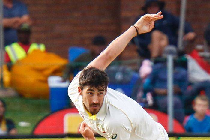 Australia's Mitchell Starc bowls on the second day of the second cricket Test.