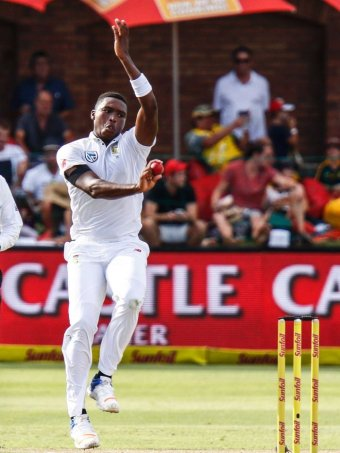 South Africa's Kasigo Rabada bowls on the third day of the the second test.