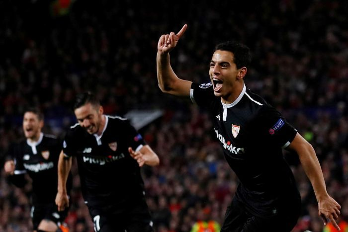 Sevilla's Wissam Ben Yedder celebrates scoring a goal against Manchester United.