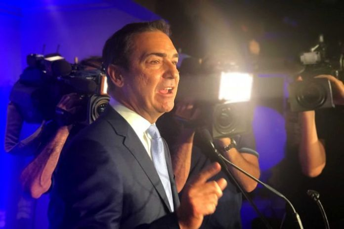 SA Liberal leader Steven Marshall declares victory.