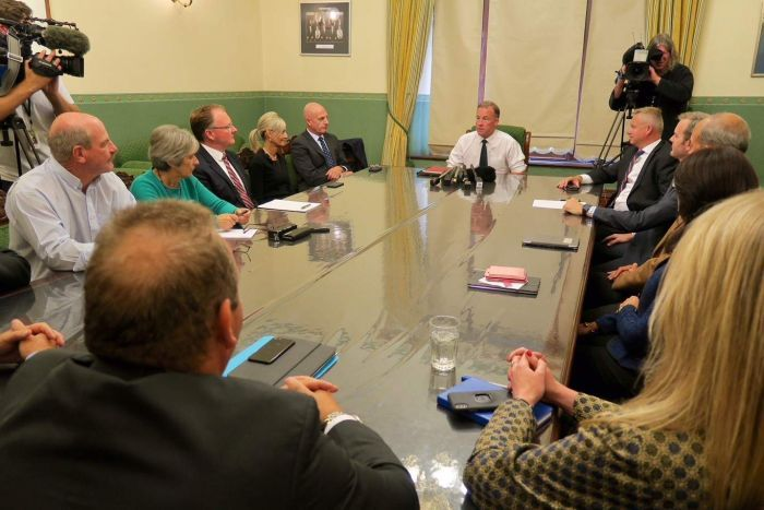 Will Hodgman leads a liberal party meeting.