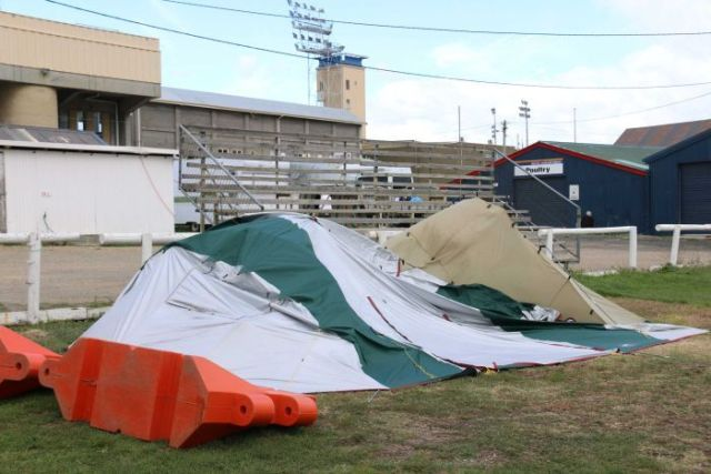 Tent behind Hobart Showgrounds stadium.