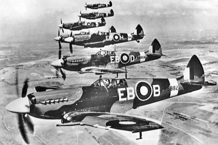 A historical photo of a squadron of Supermarine Spitfire F Mk XIIs.