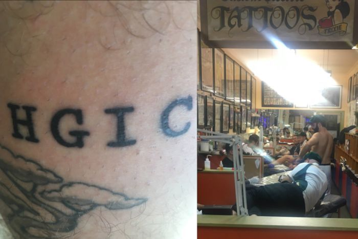 A composite image of the letters H G I C on a man's leg, and several people getting tattoos.