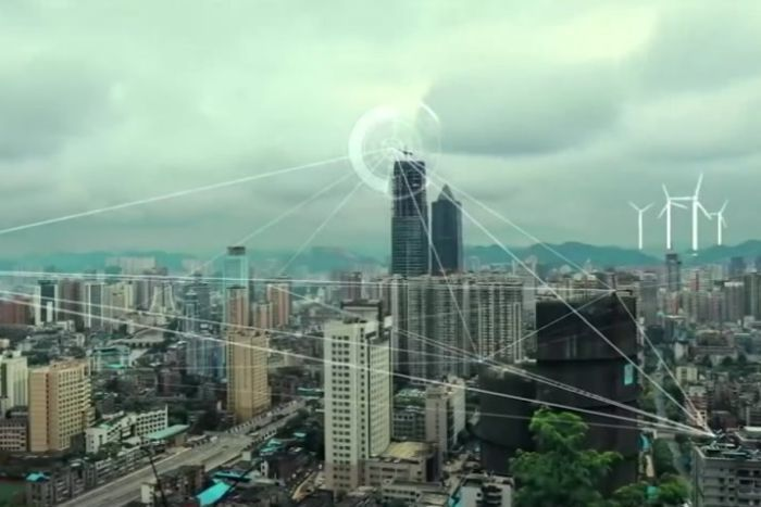 Lines are overlayed on a cityscape in China.