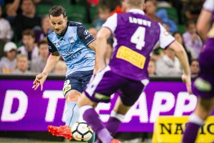 Sydney FC player Bobo shoots against Perth Glory in the A-League