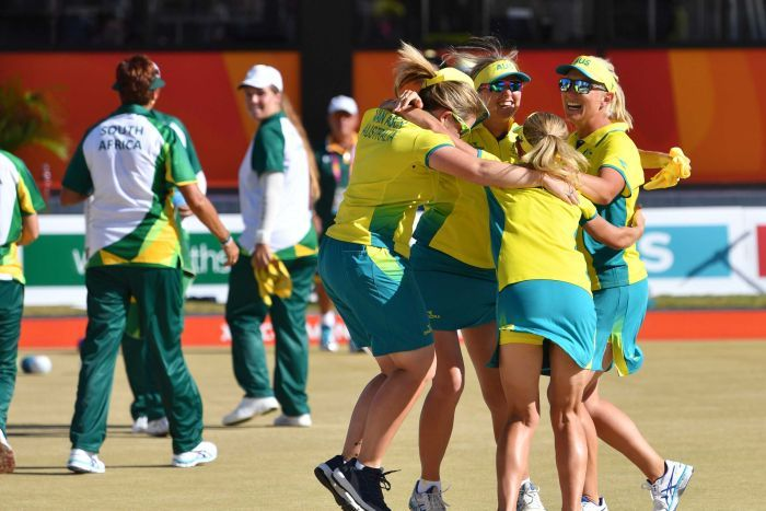 Kelsey Cottrell, Carla Krizanic, Rebecca van Asch and Natasha Scott win lawn bowls women's fours.